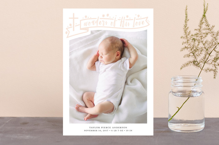 """And Wonders Of His Love"" - Holiday Birth Announcement Petite Cards in Sugar by Julee London."