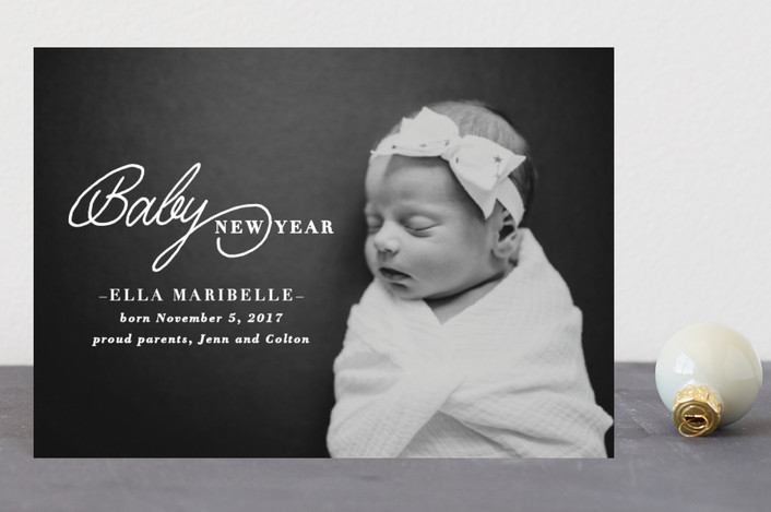 """Baby New Year"" - Holiday Birth Announcement Petite Cards in Sugar by Sara Heilwagen."