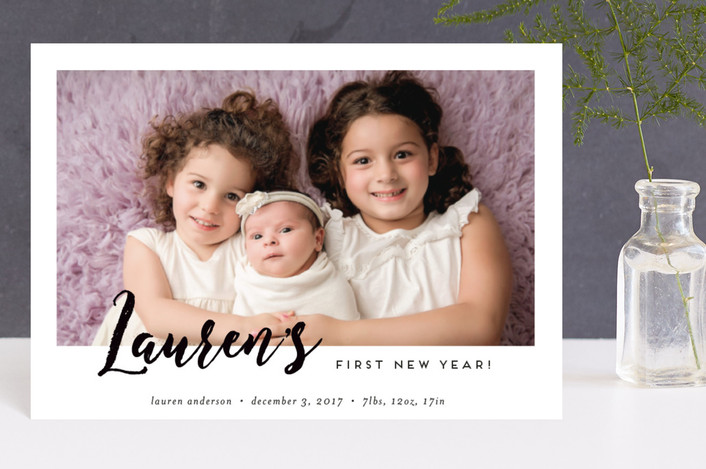 """Baby's First New Year!"" - Modern Holiday Birth Announcement Petite Cards in Ash by Kimberly Garcia."