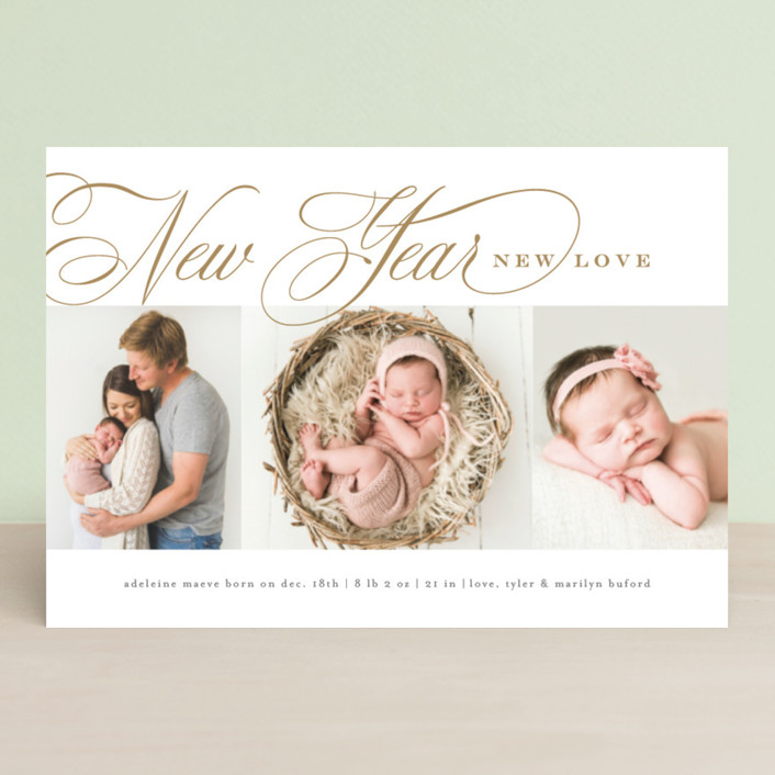 """Newly"" - Holiday Birth Announcement Petite Cards in Golden by Amy Kross."