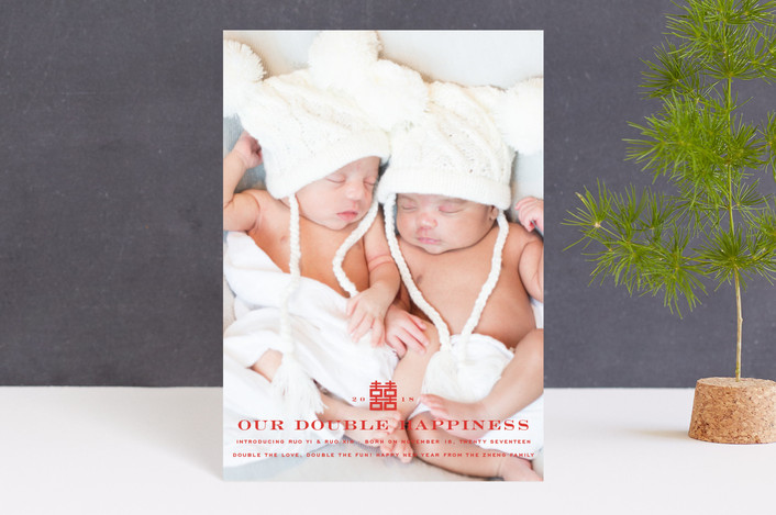 """Our Double Happiness"" - Holiday Birth Announcement Petite Cards in Firecracker by fatfatin."