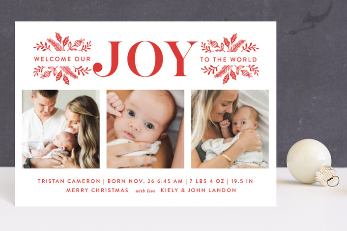 """Welcome Our Joy"" - Holiday Birth Announcement Petite Cards in Cherry by Coco and Ellie Design."