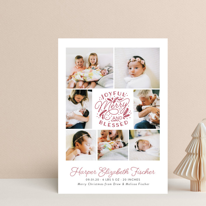 """Joyful Merry Blessed"" - Bohemian Holiday Birth Announcement Petite Cards in Cranberry by Sarah Brown."