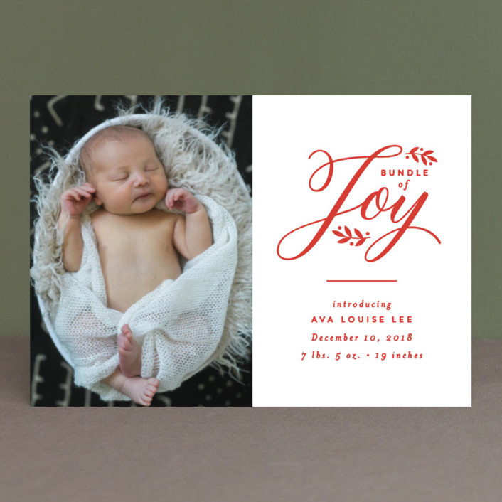 """""""Bundle of Baby"""" - Holiday Birth Announcement Petite Cards in Berry by carly reed walker."""