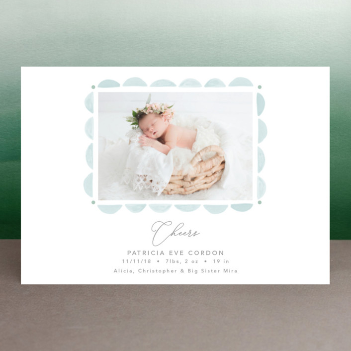 """Scalloped Watercolor Frame"" - Holiday Birth Announcement Petite Cards in Winter Sky by Erika Firm."
