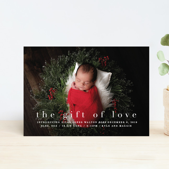 """""""the gift of love"""" - Holiday Birth Announcement Petite Cards in Blizzard by Bethany Anderson."""