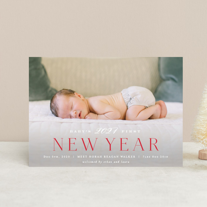 """Babys 1st Christmas"" - Holiday Birth Announcement Petite Cards in Red Berry by Hooray Creative."