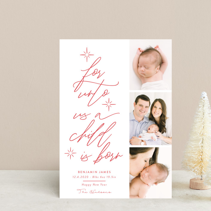 """""""For Unto Us A Child Is Born"""" - Bohemian Holiday Birth Announcement Petite Cards in Berry by Nicole Barreto."""
