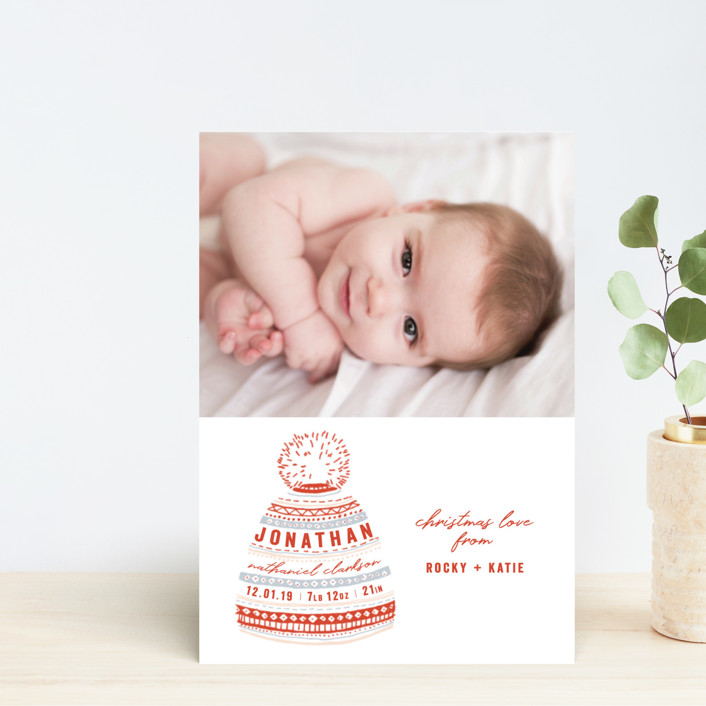"""""""Baby Beanie"""" - Bohemian Holiday Birth Announcement Petite Cards in Holly by Krissy Bengtson."""