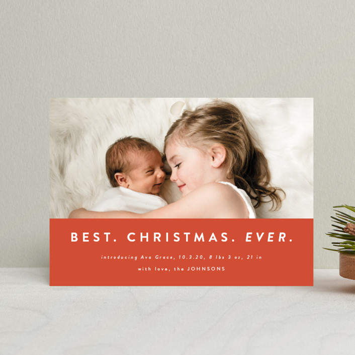 """""""color block Christmas"""" - Funny Holiday Birth Announcement Petite Cards in Holly by Kasia Labocki."""