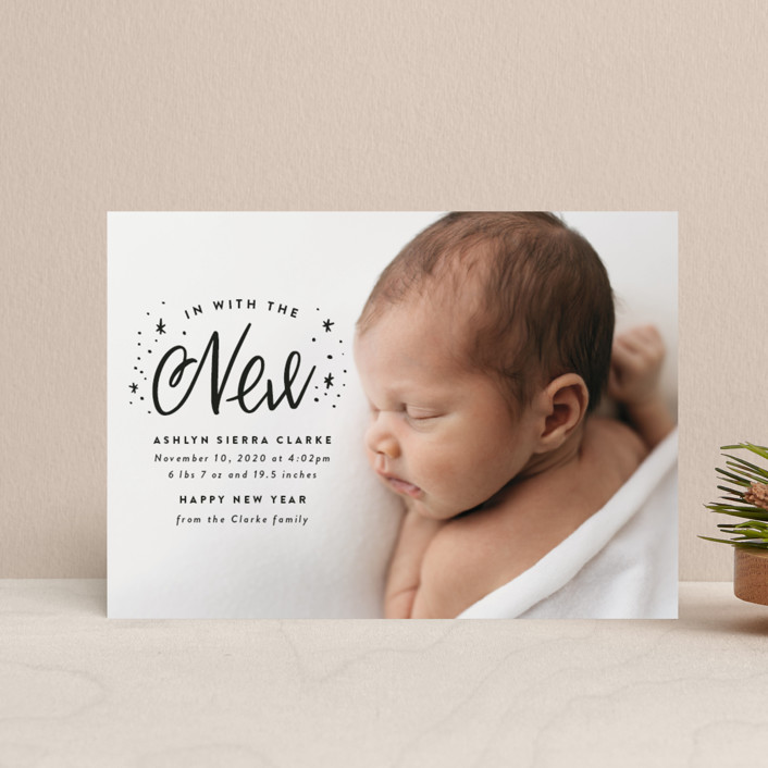 """In With the New"" - Bohemian Holiday Birth Announcement Petite Cards in Onyx by Ink and Letter."