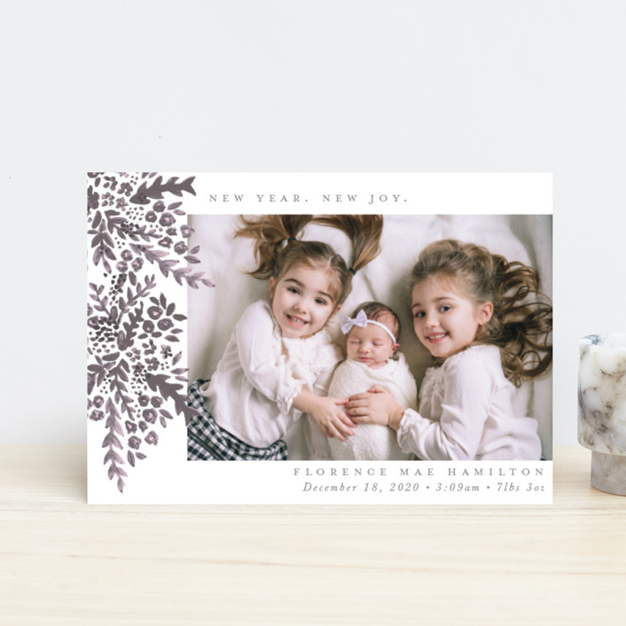 """New Year. New Joy"" - Holiday Birth Announcement Petite Cards in Plum by Hudson Meet Rose."