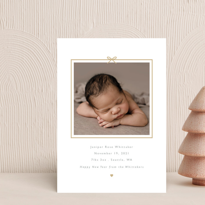 """""""All Wrapped Up"""" - Holiday Birth Announcement Petite Cards in Gingerbread by Caitlin Considine."""