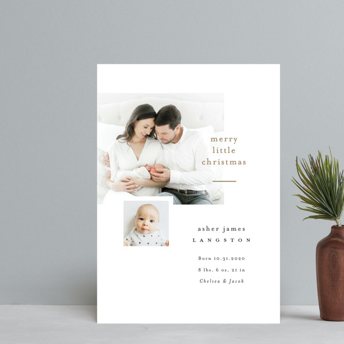 """""""Merry Little Christmas"""" - Holiday Birth Announcement Petite Cards in Snow by Pink House Press."""