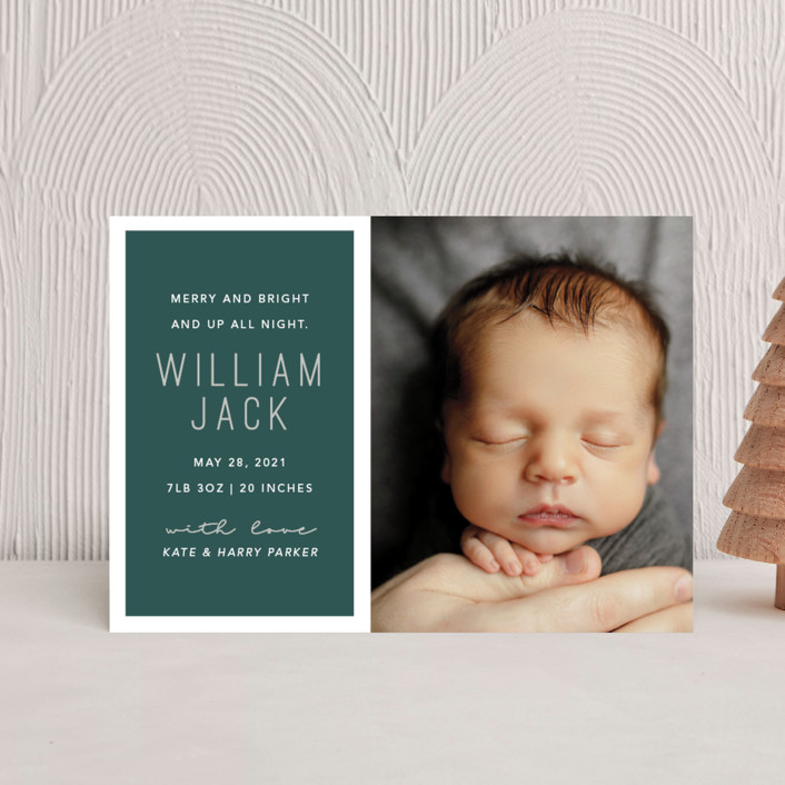 """""""Up All Night"""" - Modern Holiday Birth Announcement Petite Cards in Juniper by Hudson Meet Rose."""