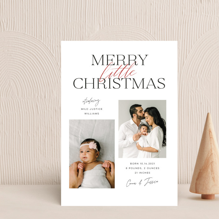 """""""New Addition"""" - Holiday Birth Announcement Petite Cards in Berry by Pink House Press."""