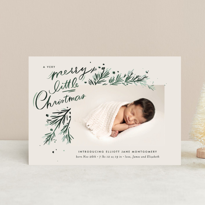 """""""A Little Christmas"""" - Vintage Holiday Birth Announcement Petite Cards in Scarlet by Julie Murray."""