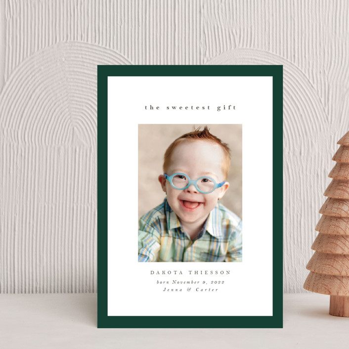 """Sweetest Gift"" - Holiday Birth Announcement Petite Cards in Forest by Nicole Walsh."