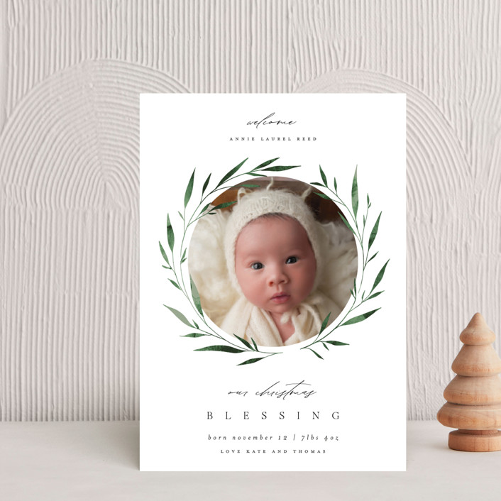 """Wreath Blessings"" - Holiday Birth Announcement Petite Cards in Botanical by Kelly Schmidt."