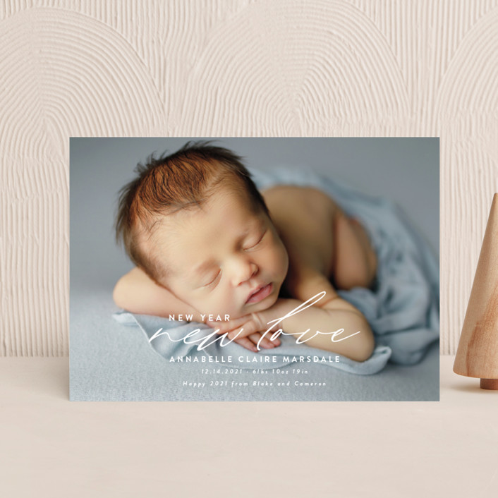 """""""New Love"""" - Holiday Birth Announcement Petite Cards in Cotton by Ink and Letter."""