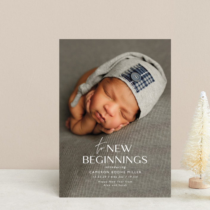 """To New Beginnings"" - Holiday Birth Announcement Petite Cards in Linen by Ink and Letter."