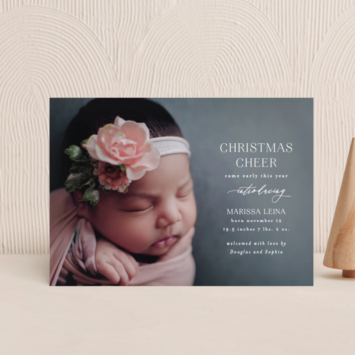 """""""Early Cheer"""" - Holiday Birth Announcement Petite Cards in Cloud by Ashlee Townsend."""