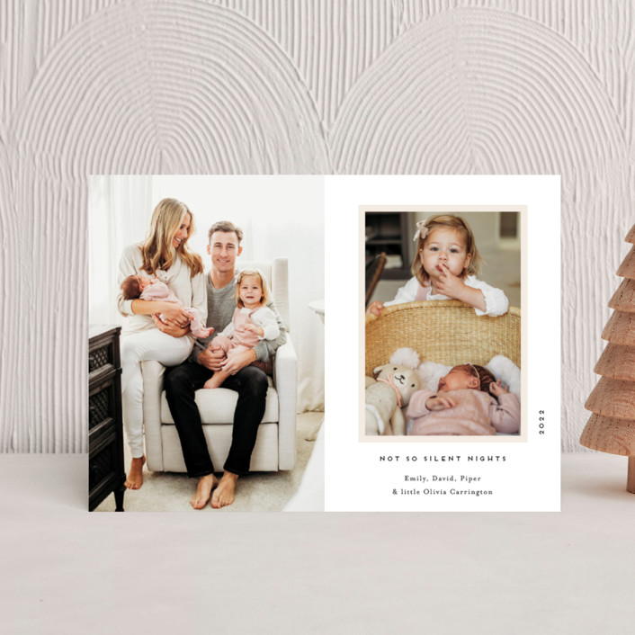 """""""Our Holiday Album"""" - Holiday Birth Announcement Petite Cards in Vanilla by Gwen Bedat."""