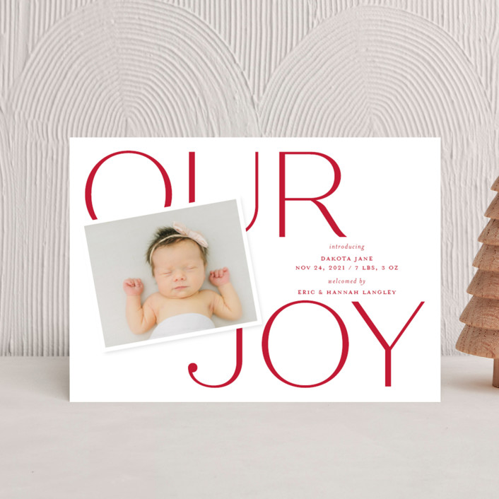 """""""Our Greatest Joy"""" - Holiday Birth Announcement Petite Cards in Poinsettia by Sandra Picco Design."""