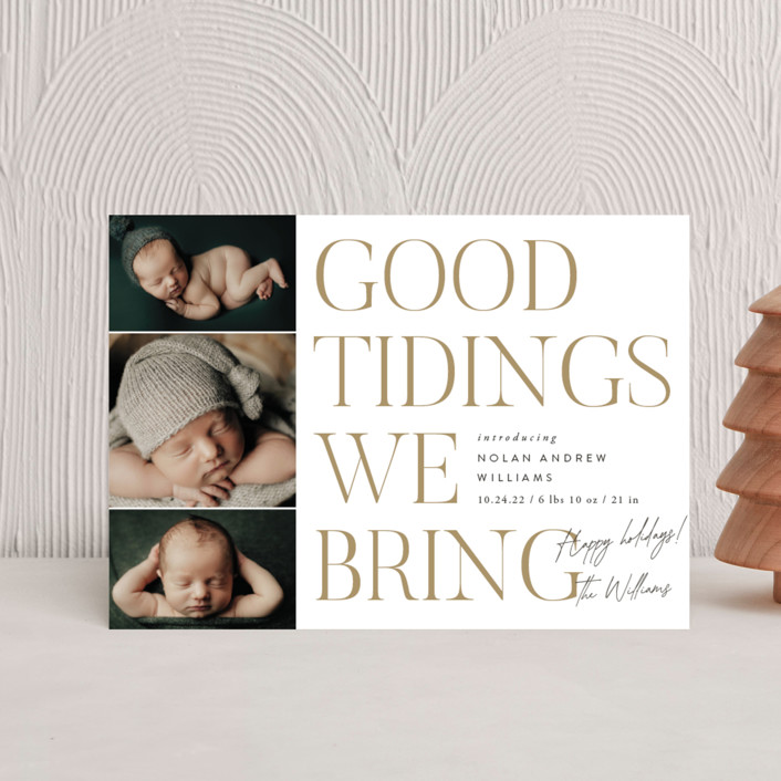 """""""Good Tidings We Bring"""" - Holiday Birth Announcement Petite Cards in Snow by Robert and Stella."""