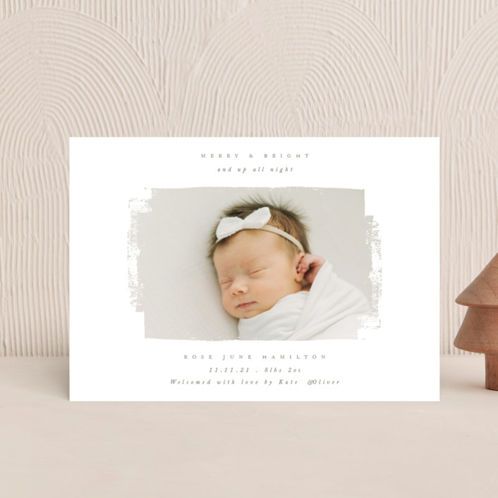 """""""Festive Swatch"""" - Vintage Holiday Birth Announcement Petite Cards in Tinsel by Caitlin Considine."""