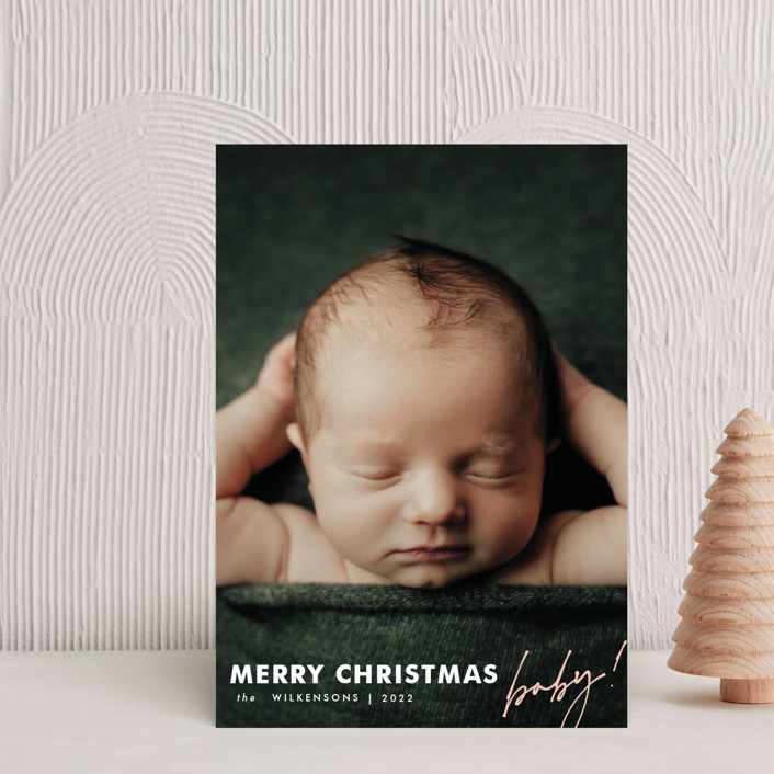"""""""merry christmas baby"""" - Holiday Birth Announcement Petite Cards in Blush by Kamala Nahas."""