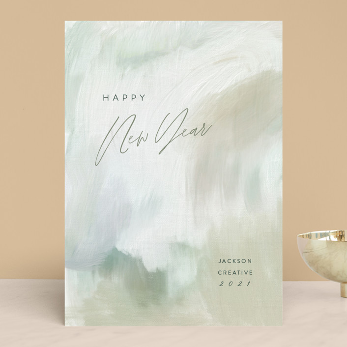 """""""Pastoral Canvas"""" - Business Holiday Cards in Seagrass by Hooray Creative."""