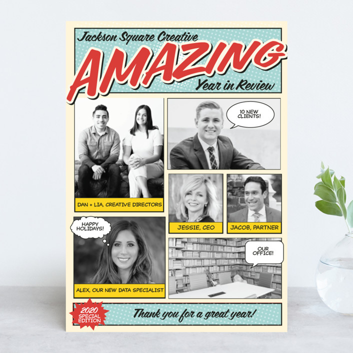 """""""Amazing Comic Book"""" - Bold typographic, Photo Collage Business Holiday Cards in Robin's Egg Blue by Coco and Ellie Design."""