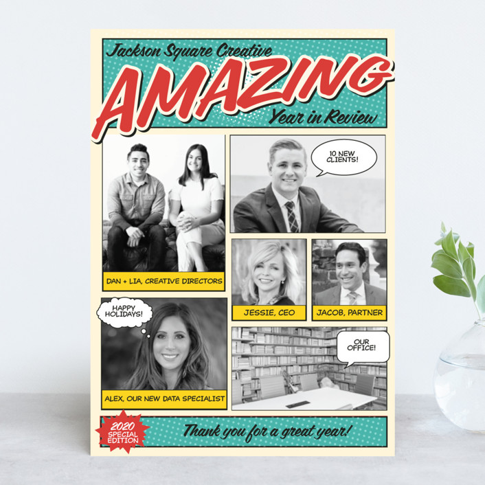 """Amazing Comic Book"" - Bold typographic, Photo Collage Business Holiday Cards in Robin's Egg Blue by Coco and Ellie Design."
