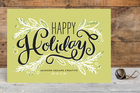 Happy holiday pine branches business holiday cards