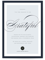 This is a blue business holiday card by Annie Shapiro called Elegant Gratitude with standard printing on signature in standard.