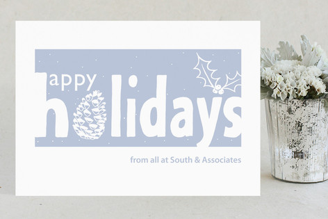 Snow-Coated Fir Cone Business Holiday Cards