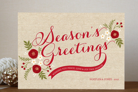 Rustic Season's Greeting Business Holiday Cards
