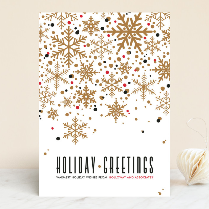 """Sophisticated Snow"" - Vintage Business Holiday Cards in Brass by Pistols."
