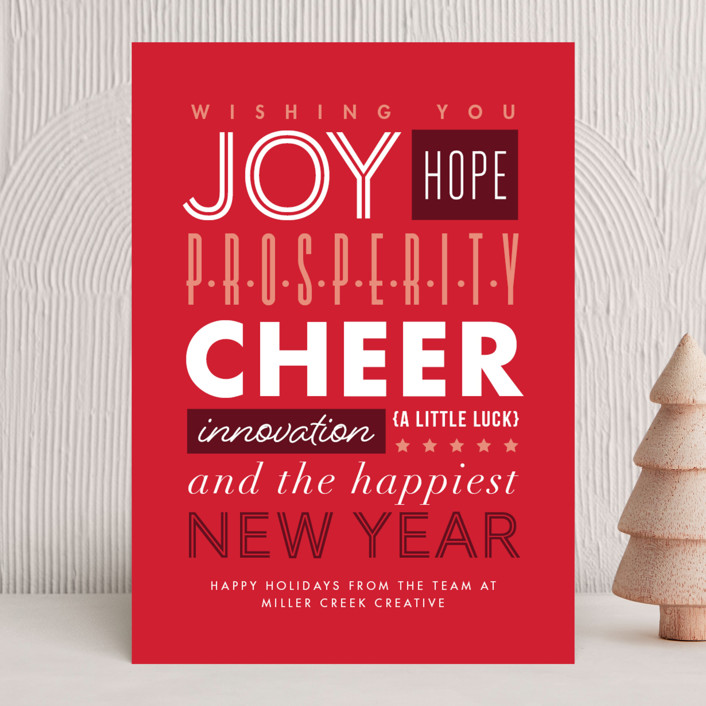 """""""Typography"""" - Business Holiday Cards in Candy Cane by Amy Payne."""