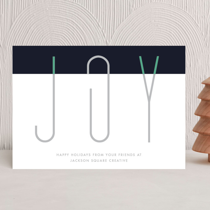 """""""Paper Clip Joy"""" - Business Holiday Cards in Midnight by Holly Whitcomb."""