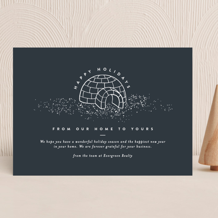 """""""Igloo Home"""" - Bohemian Business Holiday Cards in Midnight by Amy Payne."""