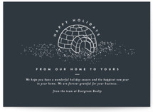 This is a blue business holiday card by Amy Payne called Igloo Home with standard printing on signature in standard.