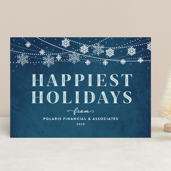 """Snowflake Garland"" - Business Holiday Cards in Christmas Eve by Jill Means."
