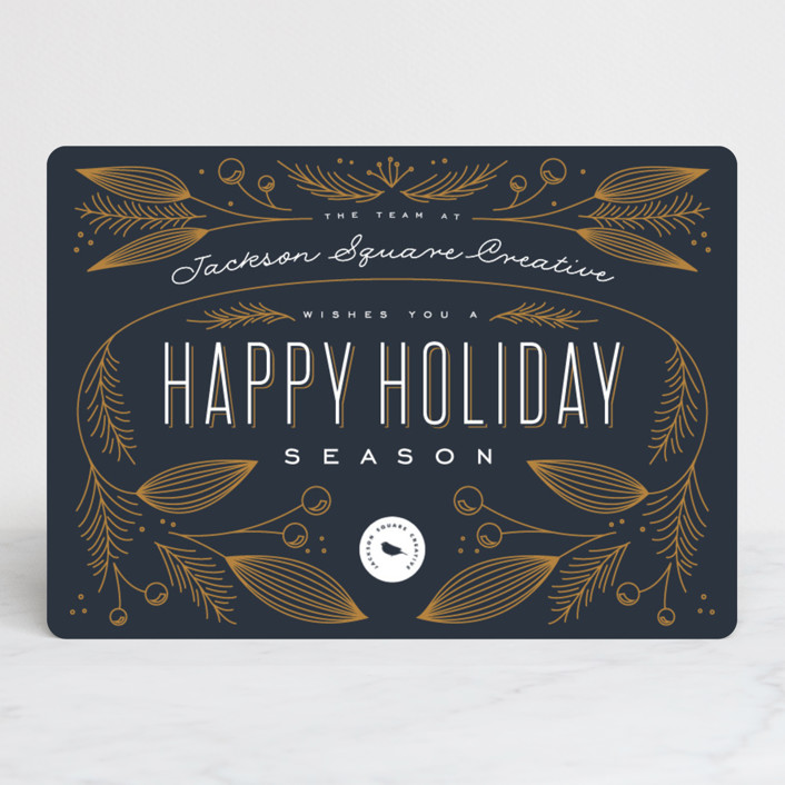"""The Season"" - Vintage Business Holiday Cards in Navy Blue by Leah Bisch."
