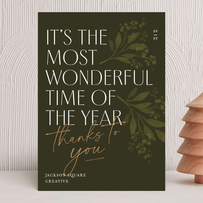 """""""Thanks to You"""" - Business Holiday Cards in Pine by Robert and Stella."""
