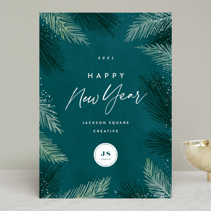 """Seasonal Foliage"" - Business Holiday Cards in Evergreen by Hooray Creative."