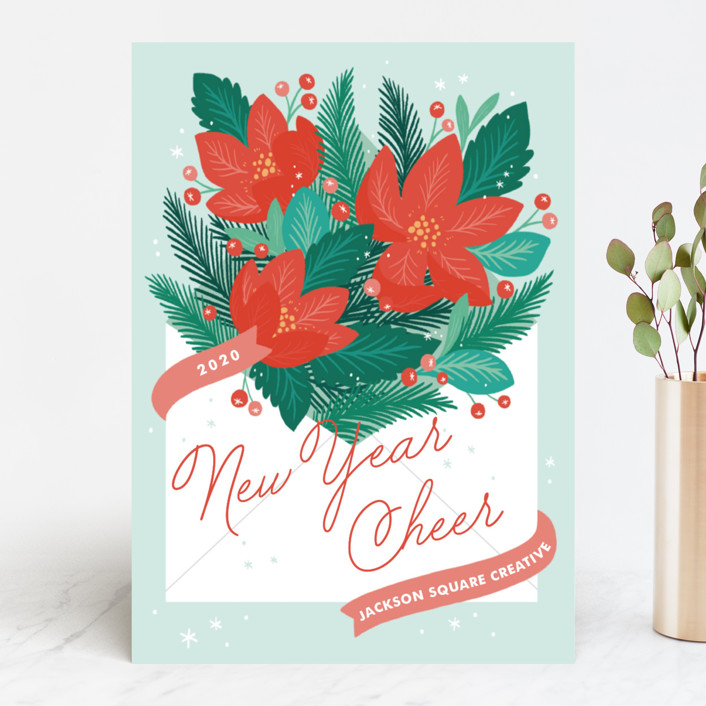 """Poinsettia Post"" - Business Holiday Cards in Mint by Paper Raven Co.."
