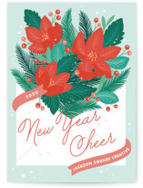 This is a green business holiday card by Paper Raven Co. called Poinsettia Post with standard printing on signature in standard.