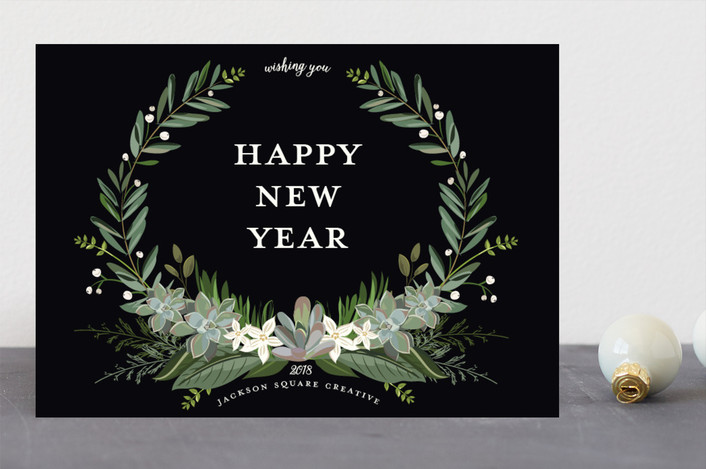"""Greenery Crest"" - Business Holiday Cards in Midnight by Susan Moyal."